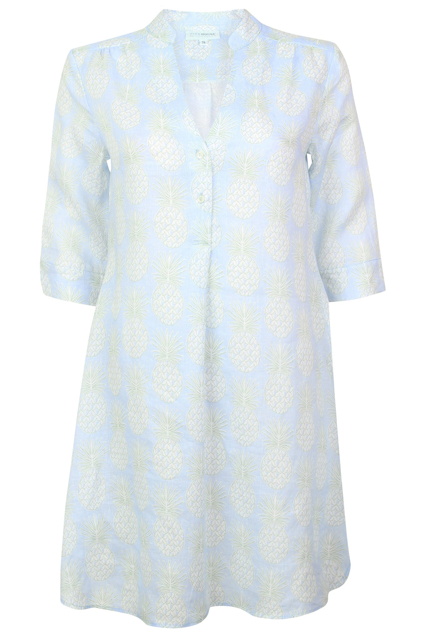 Womens Linen Flared Dress: PINEAPPLE - OLIVE
