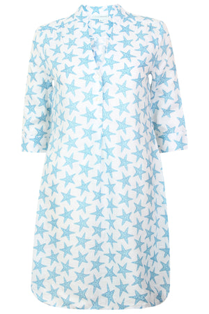 Womens Linen Flared Dress: SEASTAR - BLUE