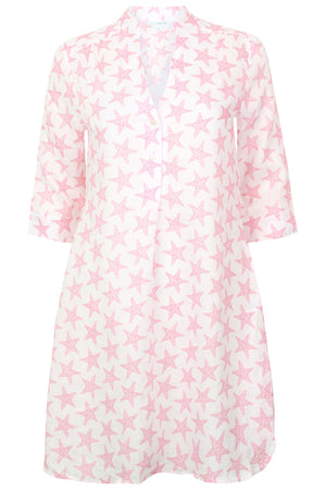 Womens Linen Flared Dress: SEASTAR - PINK