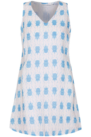 Linen Henny Dress: BEETLE - BLUE