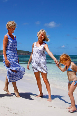 Womens Linen Sun Dress, Guava blue print by Lotty B Mustique family holiday fashion