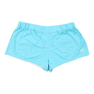 Womens Beach Shorts: TURQUOISE - WHITE MUSTIQUE applique - Front