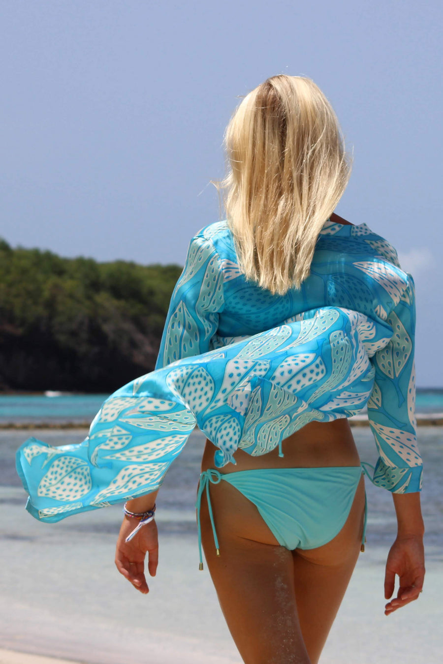 Womens pure silk shirt dress cover up blue leaves design by Lotty B Mustique luxury resort wear