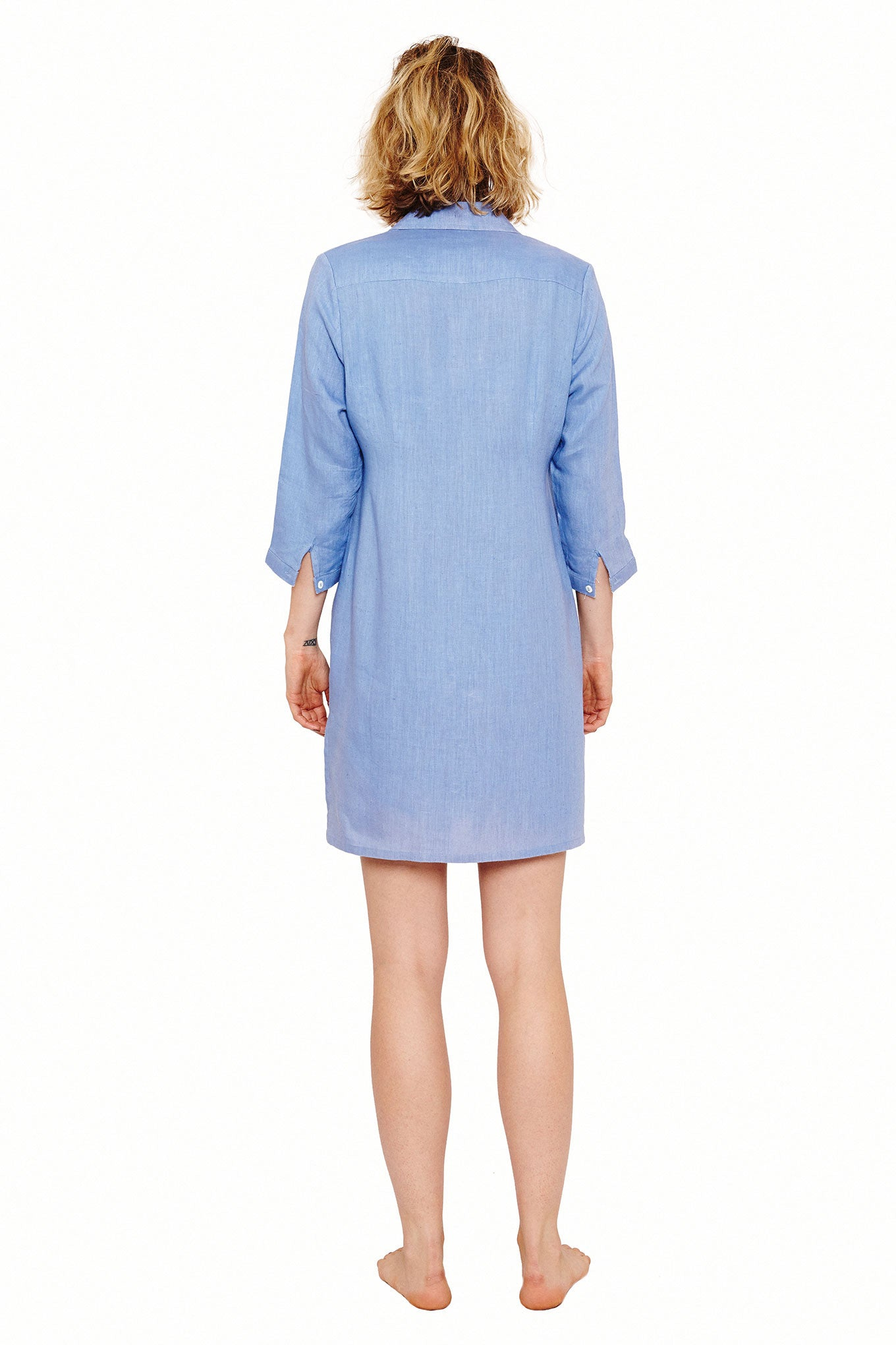 Womens Shirt Dress (Cornflower) Back