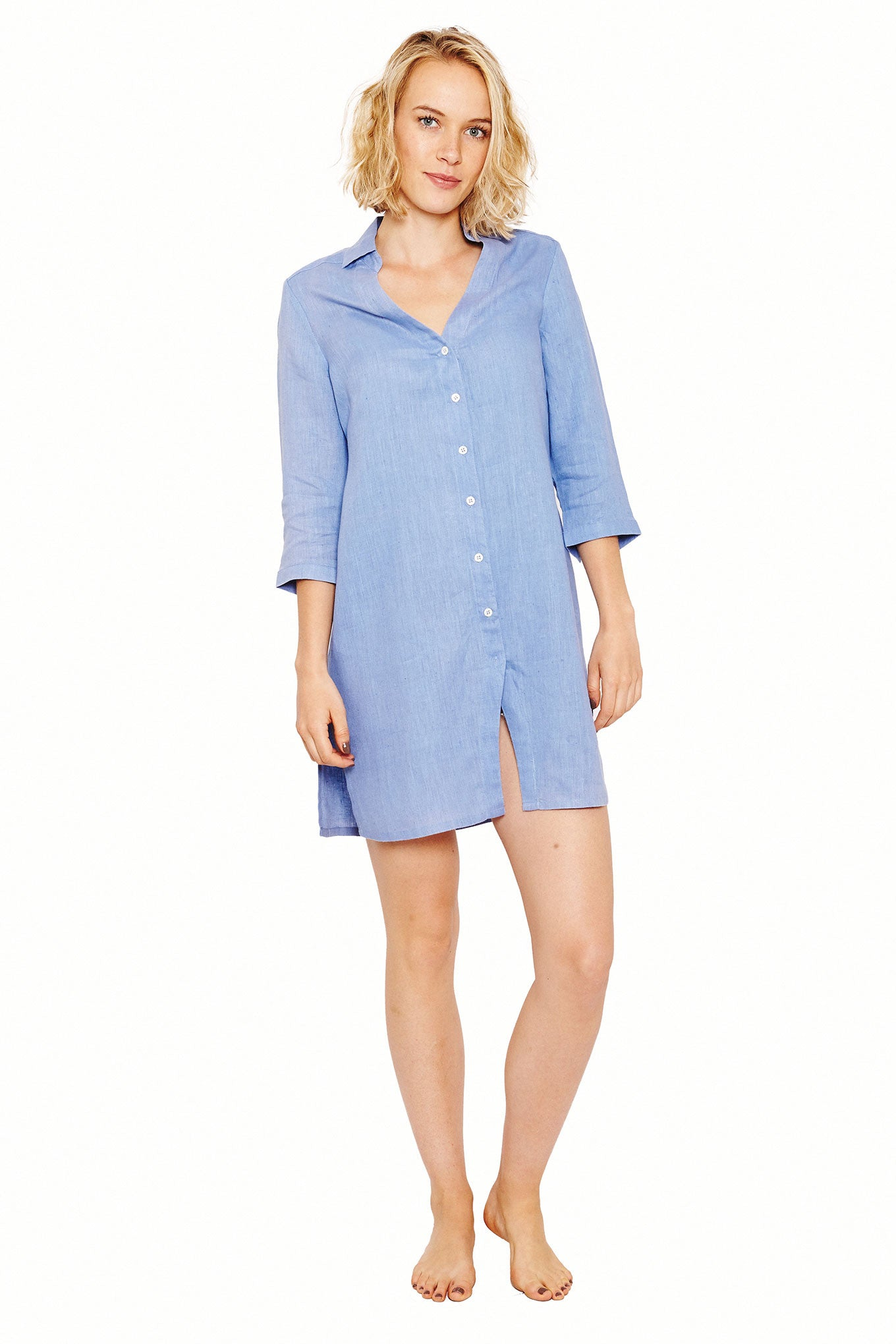 Womens Shirt Dress (Cornflower) Front
