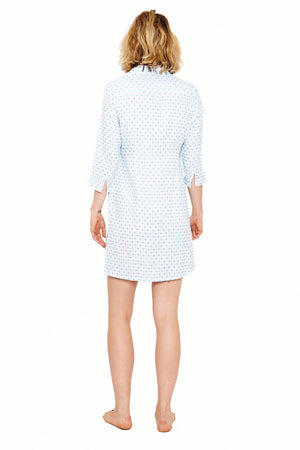 Womens Shirt Dress (Marrakech Blue) Back