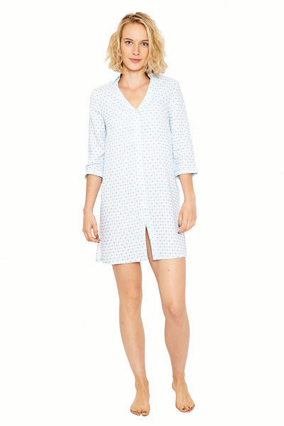 Womens Shirt Dress (Marrakech Blue) Front