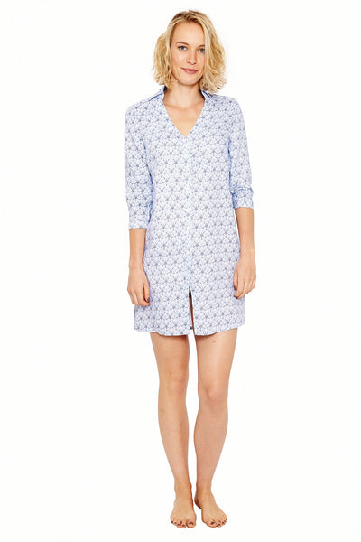 Womens Shirt Dress (Sand Dollar Blue) Front