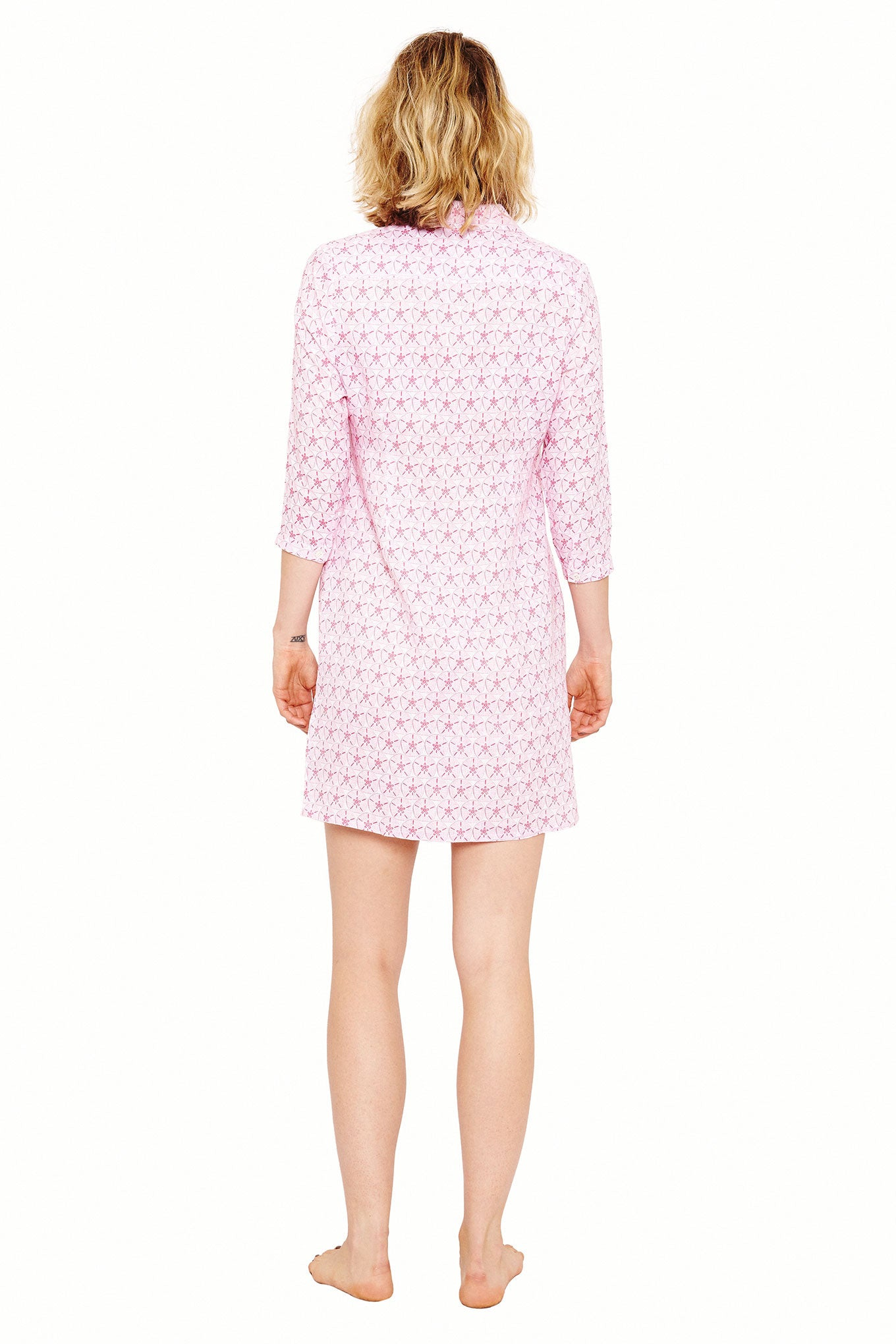 Womens Shirt Dress (Sand Dollar Pink) Back