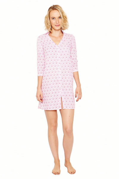 Womens Shirt Dress (Sand Dollar Pink) Front