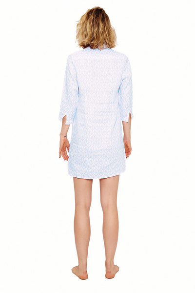 Womens Shirt Dress (Spiderlily Blue) Back