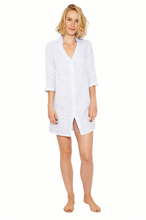 Womens Shirt Dress (Spiderlily Blue) Front