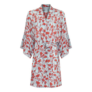 Bed to beach robe Flamboyant Flower orange aqua blue designer Lotty B Mustique