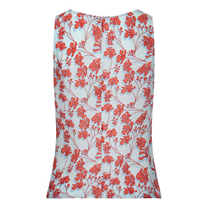 Silk Bed to Beach top Floral orange on aqua blue back designer Lotty B Mustique resort wear