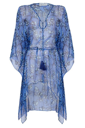 Silk Cosima Kaftan: FLAMBOYANT FLOWER - BLUE, short kaftan dress in chiffon silk, designer Lotty B Mustique