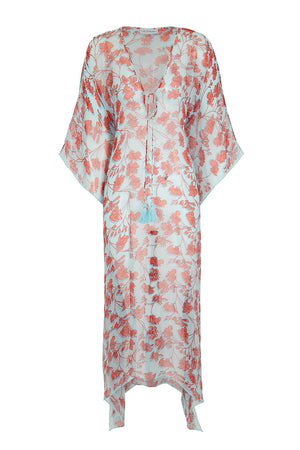 Silk Ellie Kaftan: FLAMBOYANT FLOWER - ORANGE resort wear designed by Lotty B Mustique Lagoon Bay