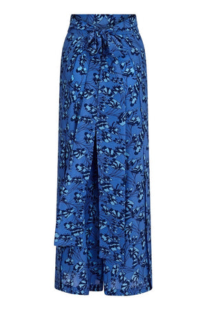Silk Gabija Palazzo Pants ties to the back: FLAMBOYANT FLOWER - BLUE designer Lotty B Mustique