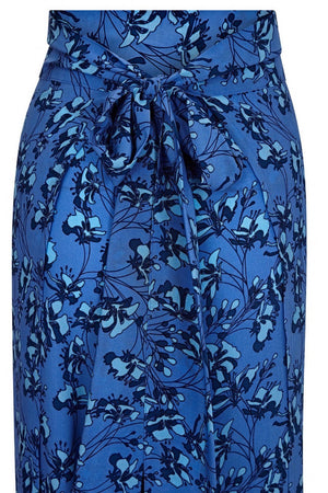 Silk Gabija Palazzo Pants back tie detail: FLAMBOYANT FLOWER - BLUE designer Lotty B Mustique