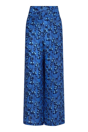 Silk Gabija Palazzo Pants: FLAMBOYANT FLOWER - BLUE designer Lotty B Mustique