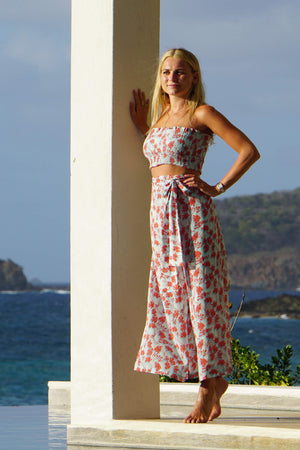Silk Gabija Palazzo Pants: FLAMBOYANT FLOWER - ORANGE wide leg trousers designed by Lotty B Mustique resort wear