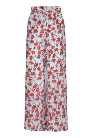 Silk Gabija Palazzo Pants: FLAMBOYANT FLOWER - ORANGE wide leg trousers designed by Lotty B Mustique