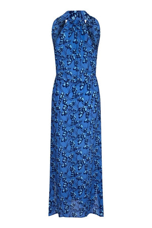Silk Jemima Dress: FLAMBOYANT FLOWER - BLUE, long halter neck racer back crepe de chine silk dress designer Lotty B Mustique