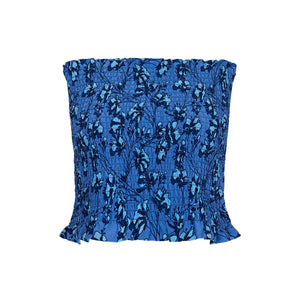 Silk Ruffle Bandeau Top: FLAMBOYANT FLOWER - BLUE