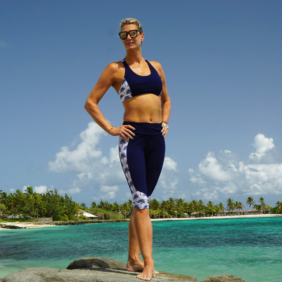 Sports Cropped Top : FAN PALM NAVY designed by Lotty B for Pink House Mustique