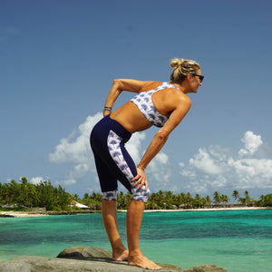Contour panel cropped leggings : FAN PALM NAVY Designer activewear