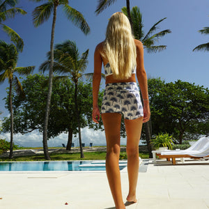 Sports shorts back : FAN PALM NAVY designed by Lotty B for Pink House Mustique