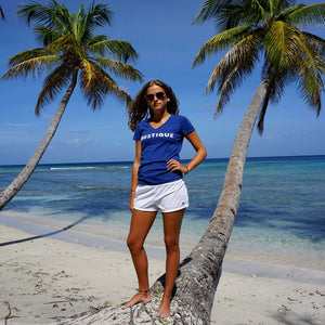 Womens T shirt: NAVY - WHITE MUSTIQUE applique - Mustique beach style