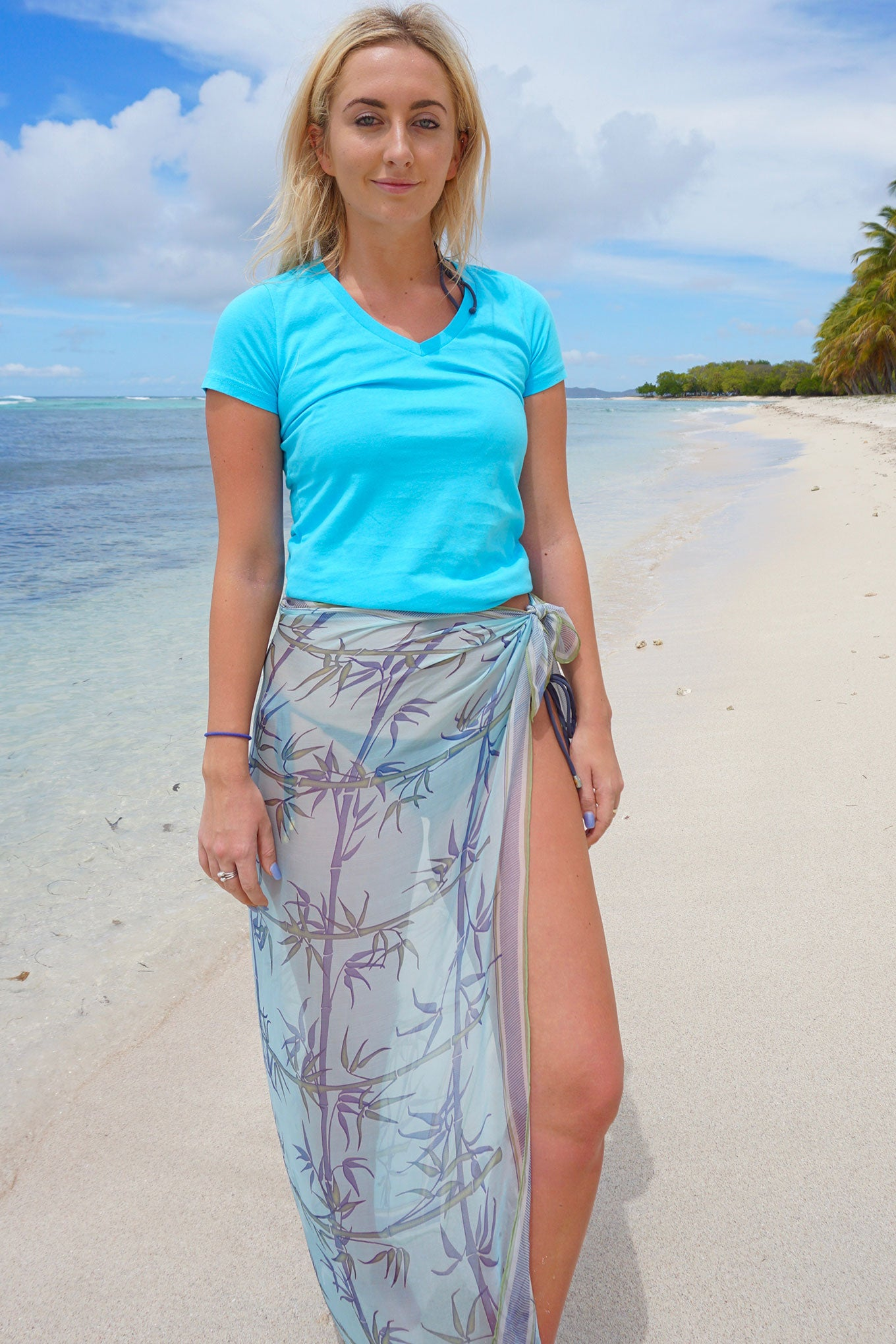 Lotty B Silk Chiffon Square Scarf (Bamboo Pale Blue) Front Mustique Beach