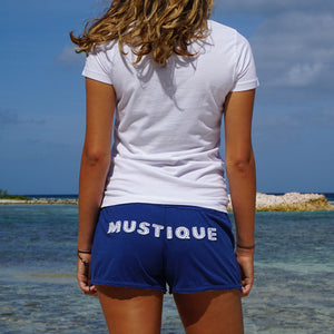 Womens Beach Shorts: NAVY - WHITE MUSTIQUE applique - Mustique beach life