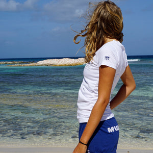 Womens T shirt: WHITE - WHITE MUSTIQUE applique - Mustique beach life