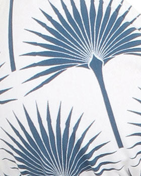 Womens Triangle Bikini : FAN PALM NAVY fabric print detail