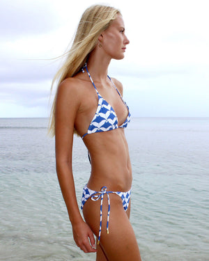 Womens Triangle Bikini : MANTA RAY - NAVY side Mustique