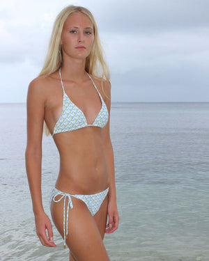 Womens Triangle Bikini : PINEAPPLE PRICKLES - OLIVE front Mustique