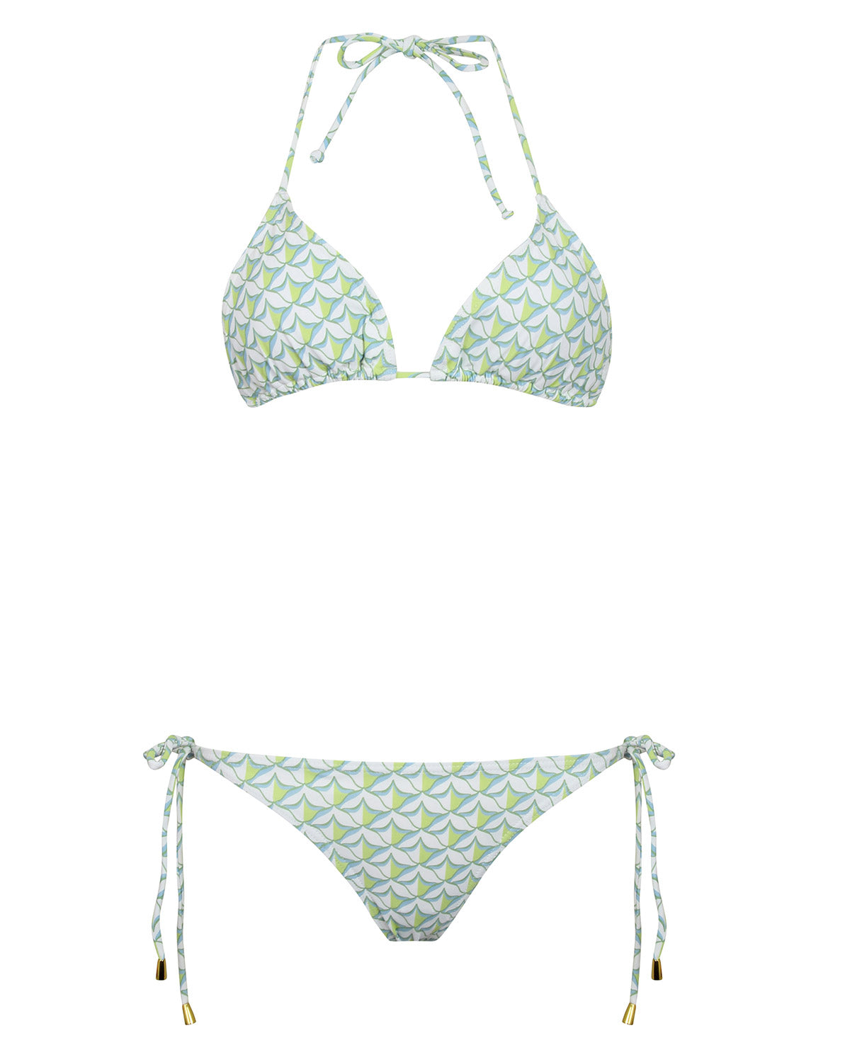Womens Triangle Bikini : PINEAPPLE PRICKLES - OLIVE