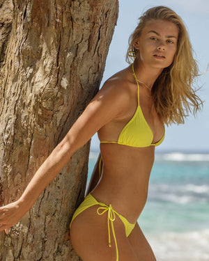 Womens Triangle Bikini : YELLOW Mustique beach life