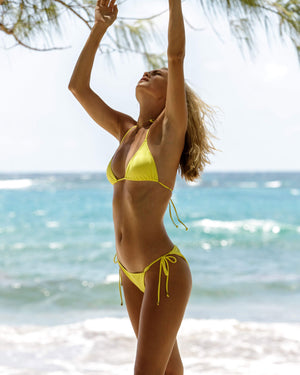 Womens Triangle Bikini : YELLOW Mustique lifestyle