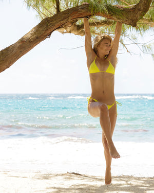 Womens Triangle Bikini : YELLOW swinging in the trees Mustique beach life