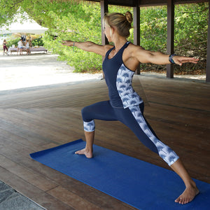 Contour panel cropped leggings : FAN PALM NAVY Designer Lotty B Mustique sports range