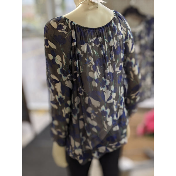 Grey Floral Blouse - Karmas Boutique YEG