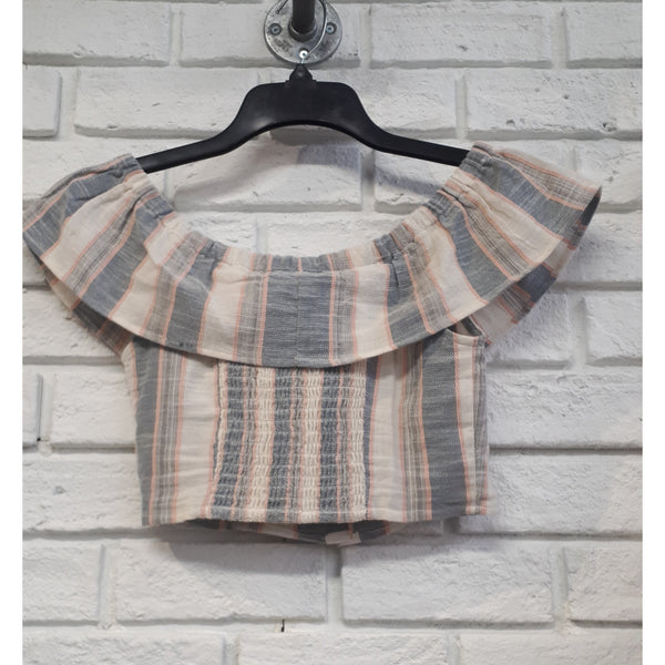 Natural Stripe Off the Shoulder Top