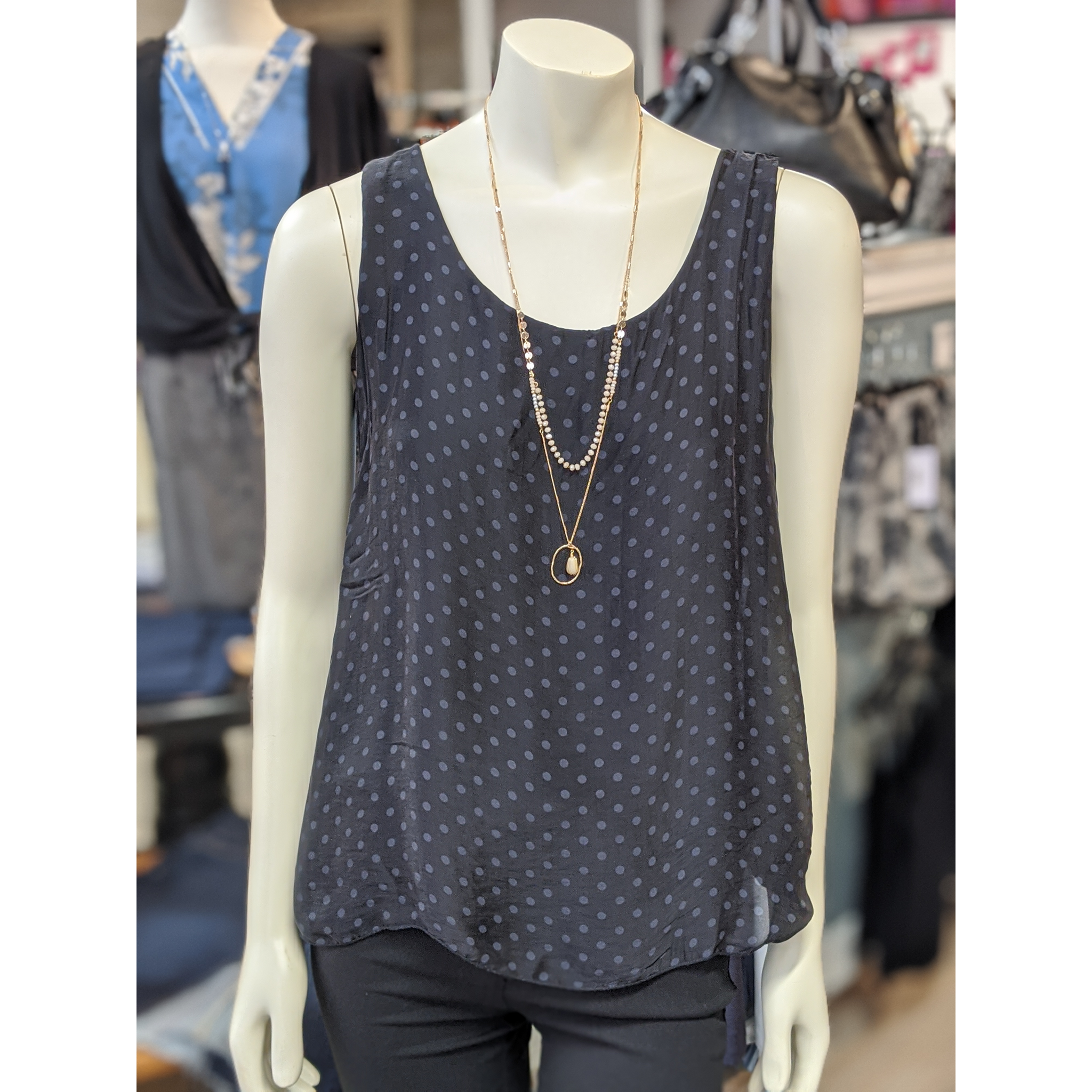 Black Polka Dot Silk Tank