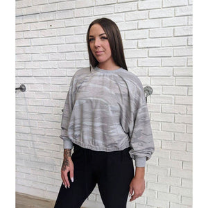 Grey Camo Sweatshirt - Karmas Boutique YEG