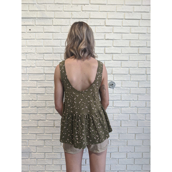 Green Floral Top - Karmas Boutique YEG