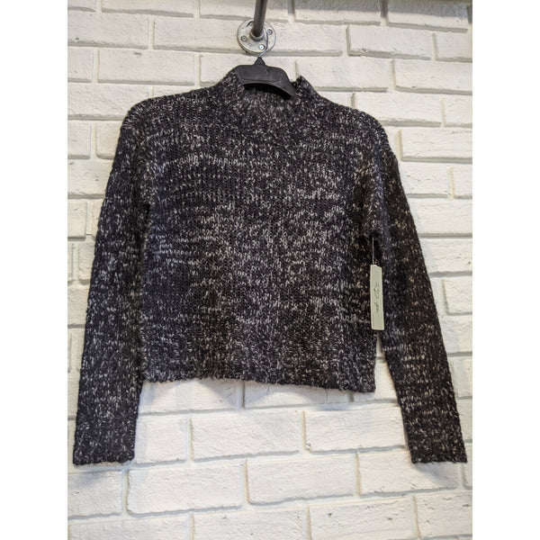 Mock Neck Black Twist Sweater