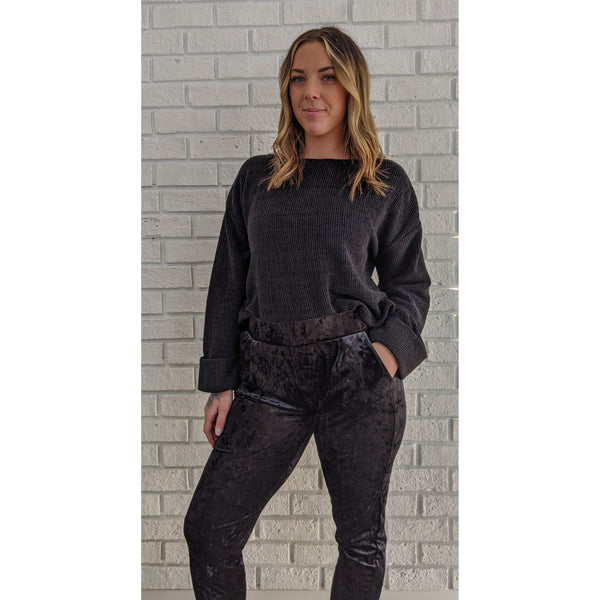 Crushed Velour Black Pant - Karmas Boutique YEG