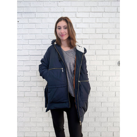 Navy Blue Hooded Parka